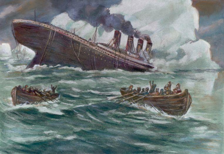 De Titanic zinkt, 14 april 1912.  Beeld Bettmann Archive