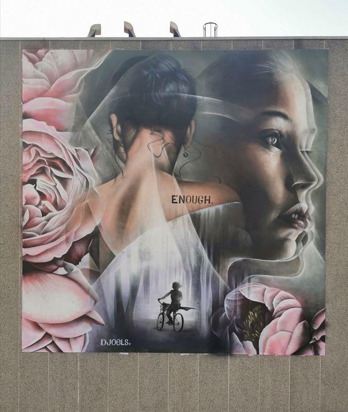 Het werk van Djoels ter nagedachtenis van Julie Van Espen.