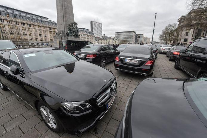 Manifestation des chauffeurs LVC à Bruxelles en janvier 2020.