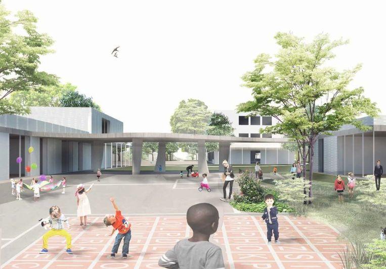 Zo zal de nieuwbouw voor de kleuterafdeling van de Bijenkorf er uitzien.