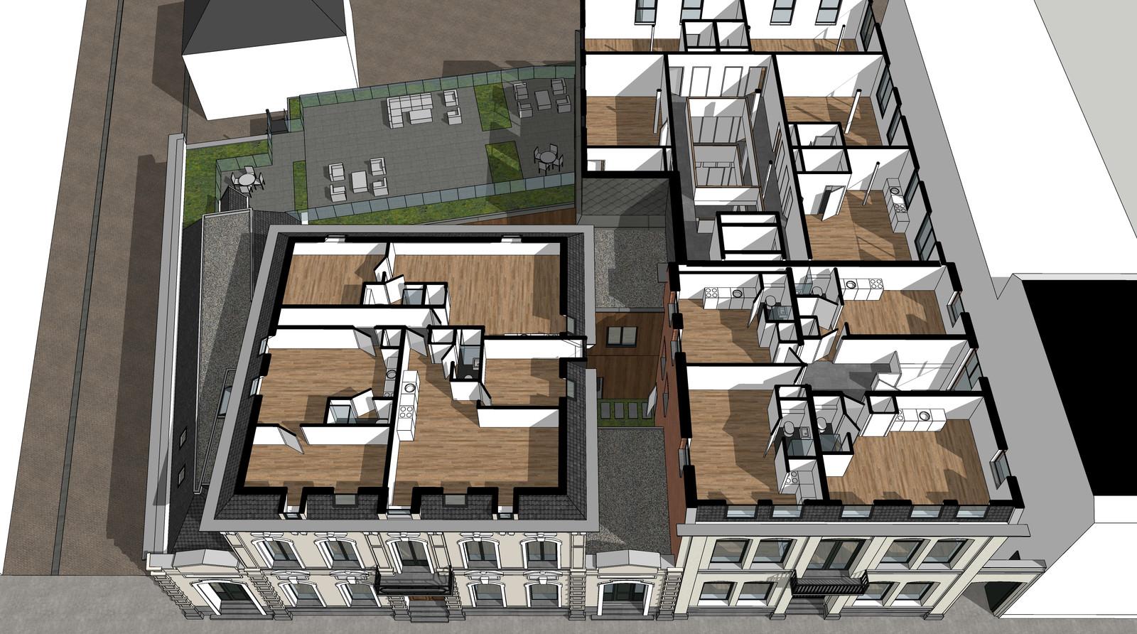 Impressie van de indeling van de bovenste verdieping van appartementencomplex Stationsstraat 17-19.
