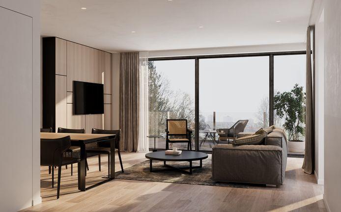 Elk appartement beschikt over een ruime woonkamer met uitzicht op de tuin.