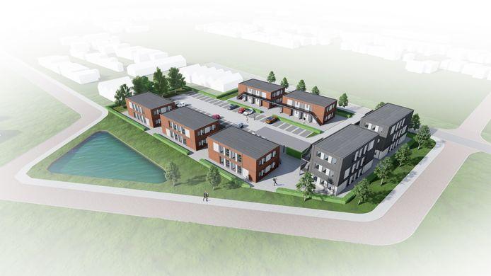 Impressie van het HomeFlex-complex dat recent gebouwd is voor werknemers in Sluiskil. Aan de Bossenburgseweg/N288 in Vlissingen zouden drie van zulke pleinen komen.
