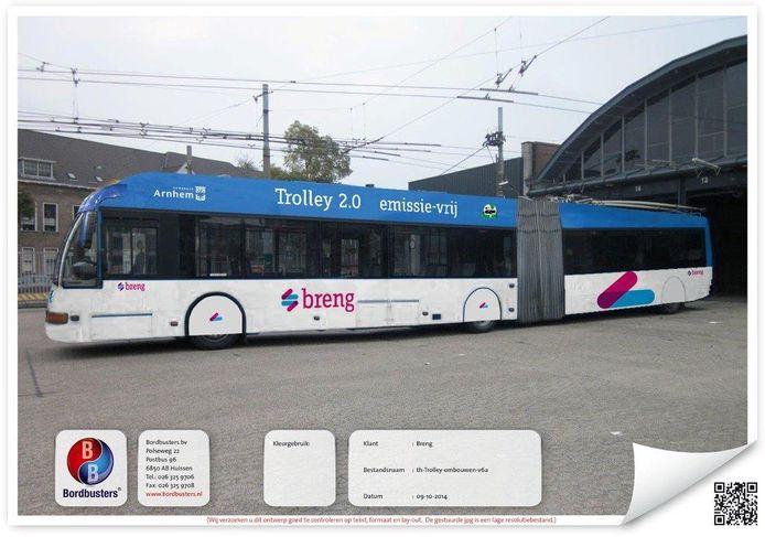 Een impressie van de Trolley 2.0 die in december 2014 werd verspreid door de gemeente Arnhem. De bus die ontwikkeld zou worden door EL-KW kwam er nooit.
