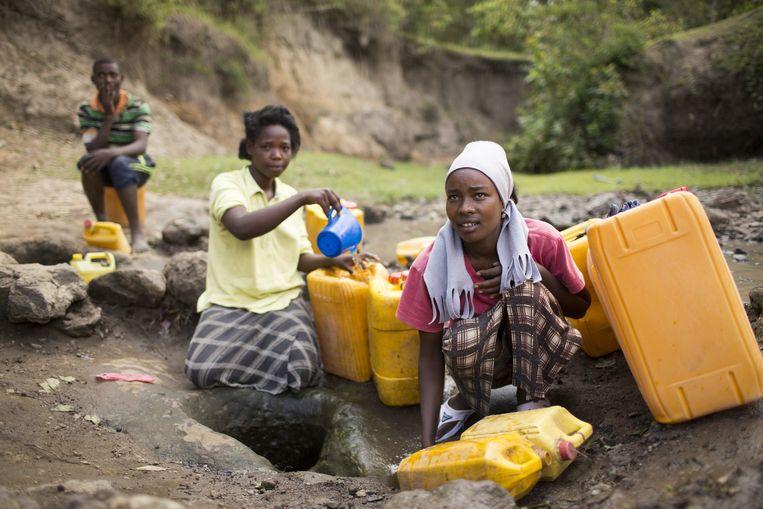 Vrouwen putten water in een droge rivierbedding in de buurt van Sodo. De 15-jarige Brouk (links) loopt elke dag twee uur om water te halen voor haar familie. Beeld null
