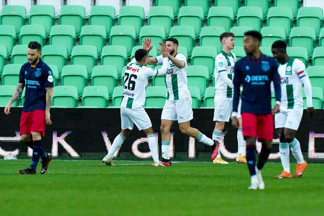 Vreugde bij de spelers van FC Groningen na de 1-0.