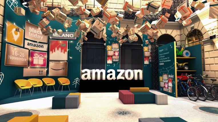 Beeld van een Amazon pop-upwinkel in Milaan. Beeld RV/ Amazon