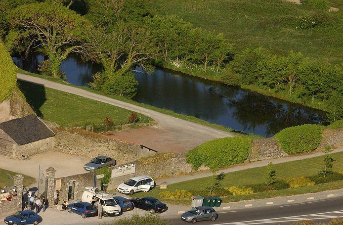 Luchtfoto van de vijver in Guérande waar het lichaam van Jonathan is gevonden. Foto uit 2004.