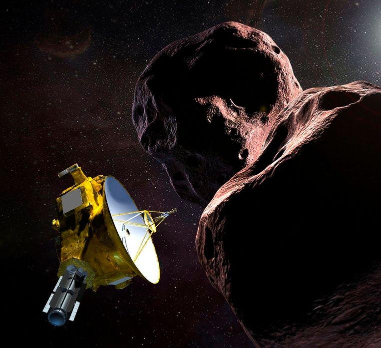 Illustratiebeeld: de sonde New Horizons scheert langs het object Ultima Thule. Het is het verste object dat ooit is bestudeerd door de mens. Beeld Photo News