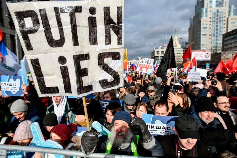 Een demonstratie voor internetvrijheid op 10 maart  in Moskou.  Beeld AFP