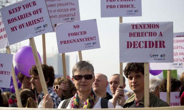 Een betoging voor het recht op abortus in Brussel, in maart 2012. Beeld Belga