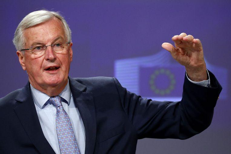 15 mei 2020: Michel Barnier, hoofdonderhandelaar namens de EU, doet verslag van het mislukken van de derde onderhandelingsronde tussen de EU en het Verenigd Koninkrijk. Beeld AFP