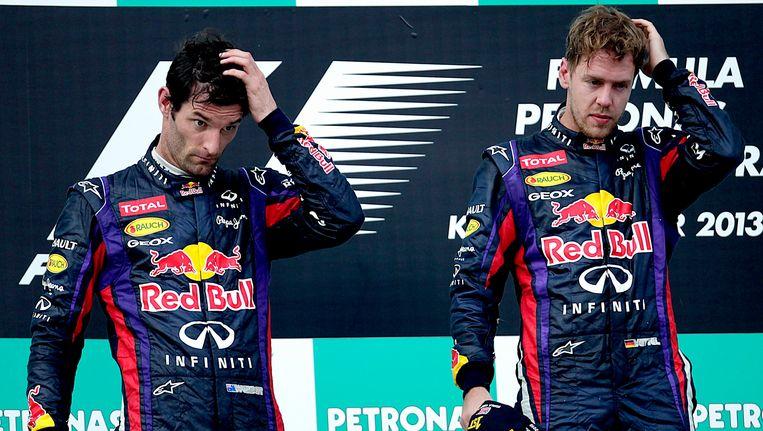 Mark Webber (l) en Sebastian Vettel. Beeld EPA