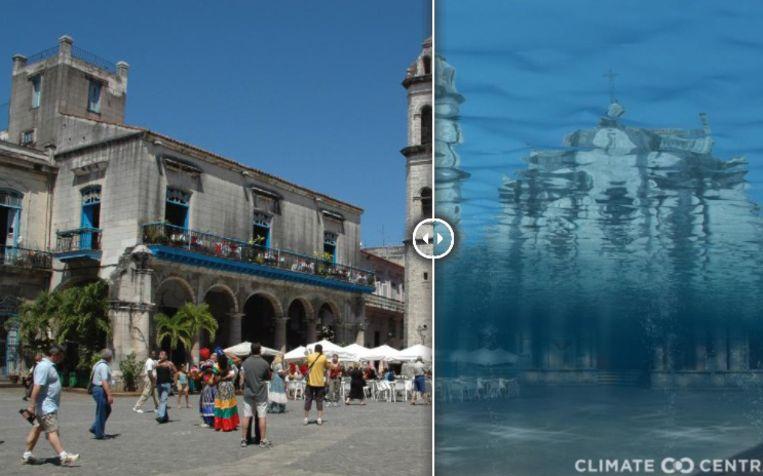 Plaza de la Catedral in Havana, Cuba. Links de situatie als de opwarming beperkt blijft tot 1,5 graden. Rechts hoe het plein eruit zou zien bij een opwarming van 3 graden Celsius. Beeld Climate Central