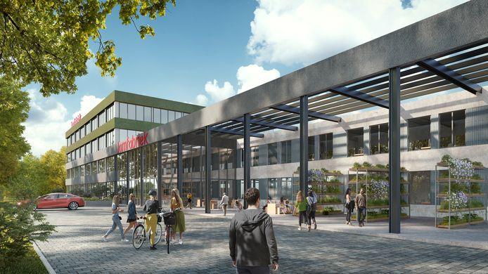 Vooraanzicht verbouwde Jamfabriek die in het tweede kwartaal van 2021 klaar is.