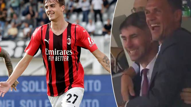 Maldini junior scoort eerste competitiegoal voor AC Milan, vader Paolo veert recht in tribunes