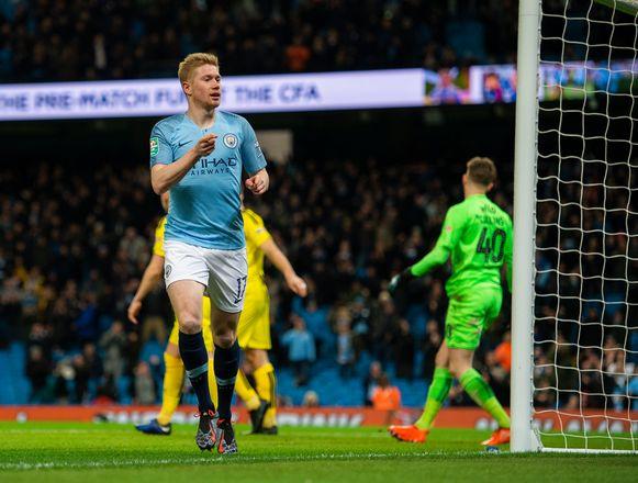 Kevin De Bruyne nam de eerste goal voor zijn rekening in wat een gezondheidswandeling voor Man City werd.