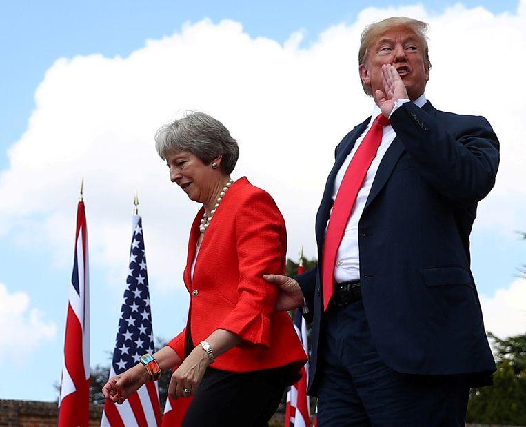 May ontvangt de Amerikaanse president Trump, 13 juli 2018. Beeld REUTERS