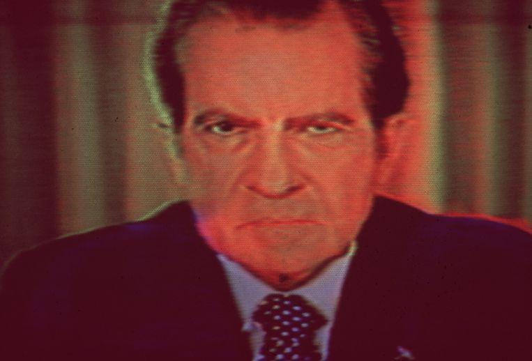 President Richard Nixon trad in 1974 af om het Watergateschandaal, een complot waarbij hij betrokken was. Beeld Getty