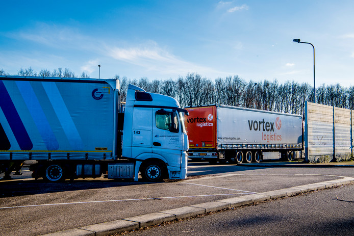 Trucks langs de snelweg. Zwolle gaat onderzoeken of in de stad een bewaakte overnachtingsplek voor vrachtwagenchauffeurs moet komen.