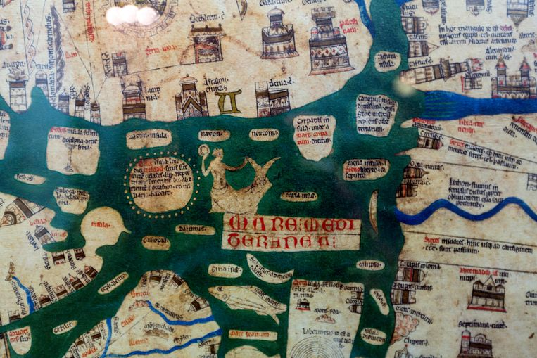 Detail van de Mappa Mundi. Beeld Alamy Stock Photo