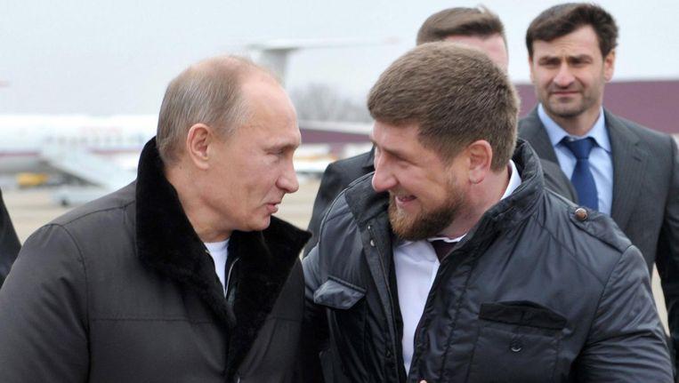 President van Rusland Vladimir Poetin met Ramzan Kadyrov, leider van Tsjetsjenië. Beeld epa