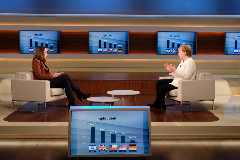 Angela Merkel (r) in gesprek met Anne Will.  Beeld EPA