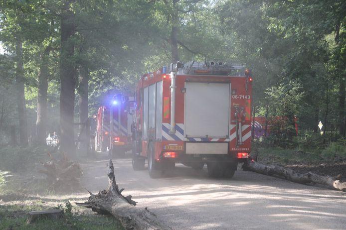 Een colonne brandweerwagens reed met loeiende sirenes richting Hoog-Soeren voor een melding van een bosbrand die een stofwolk bleek te zijn. Daarbij deed de brandweer zelf ook de nodige stof opwaaien.