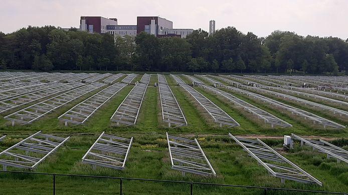 Het zonneveld in aanbouw met op de achtergrond ziekenhuis Meander Medisch Centrum.