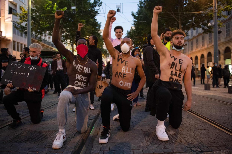 Overal in Europa vinden antiracismedemonstraties plaats, zoals in Marseille. Beeld AFP