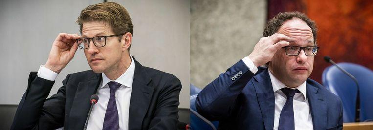 Minister Dekker (VVD) voor Rechtsbescherming (links) en  minister Koolmees (D66) van Sociale Zaken Beeld ANP