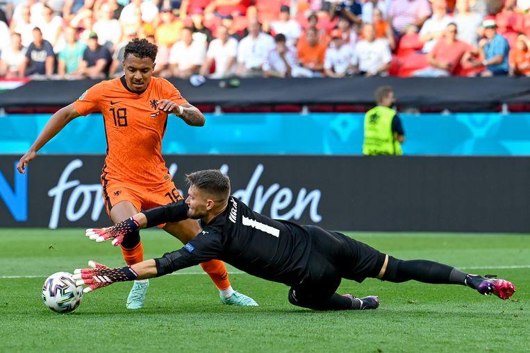 Malen mist de grootste kans van de wedstrijd voor Oranje. Beeld EPA