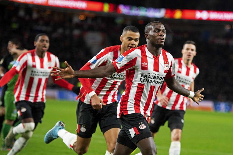 Bruma van PSV heeft de 3-1 gescoord.  Beeld ANP