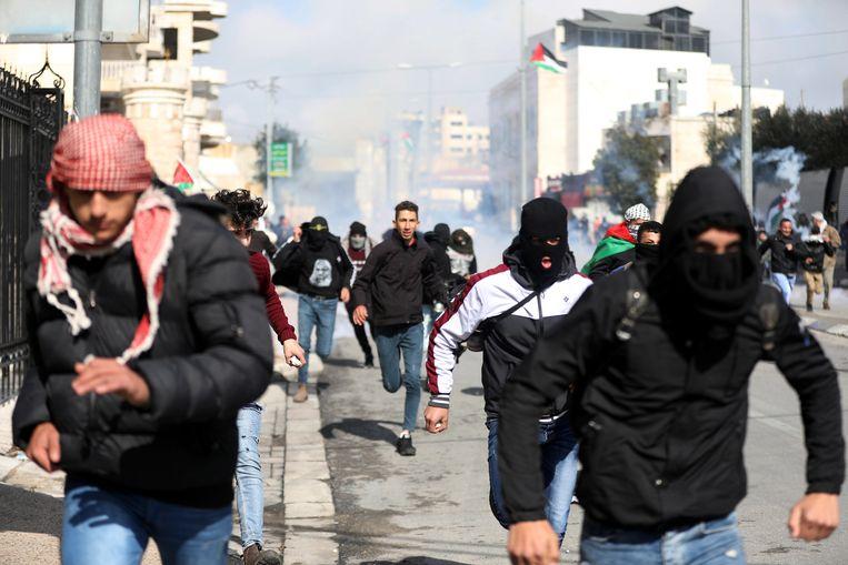 Protest op de Westelijke Jordaanoever in Bethlehem. Beeld EPA