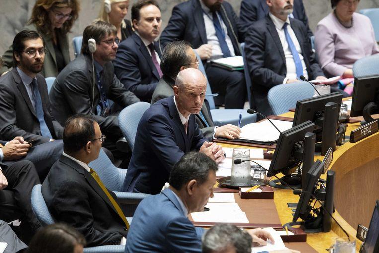Minister van Buitenlandse Zaken Stef Blok spreekt de leden van de Verenigde Naties toe tijdens de Veiligheidsraad over het aansprakelijk stellen van Rusland in de kwestie MH17.  Beeld ANP