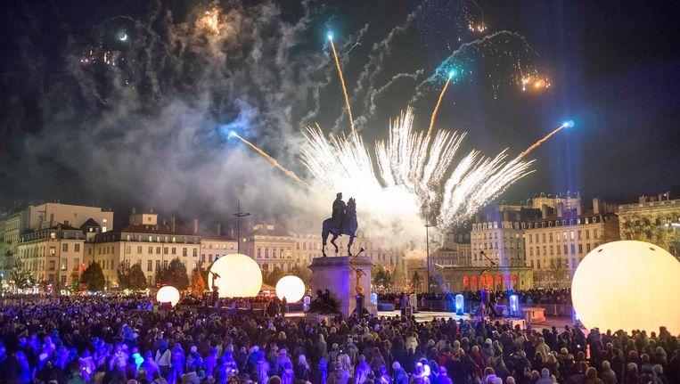 Het Lichtfestival in Lyon, hier in de editie van 2013, trekt elk jaar miljoenen bezoekers. Beeld REUTERS