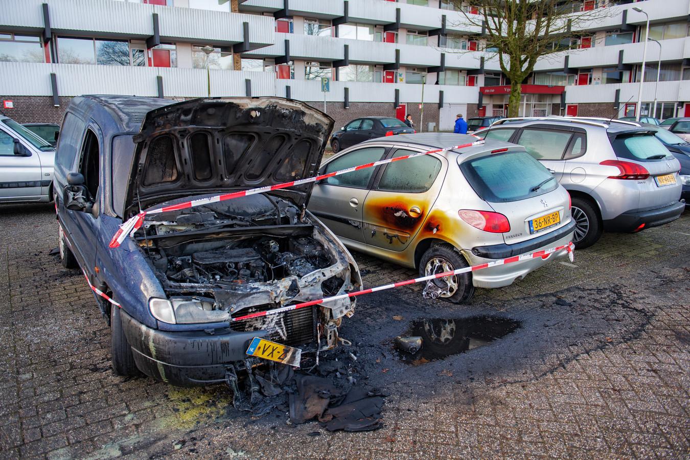 De autobrand die deze week de Nijmeegse wijk De Meijhorst opschrikte.
