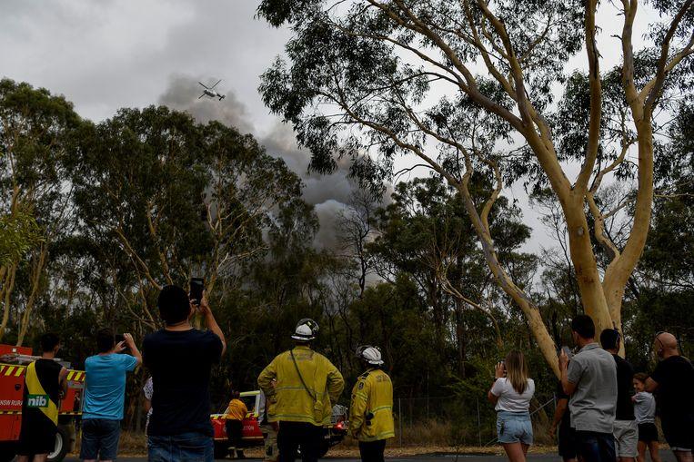 Een bosbrand in de buurt van Voyager Point, Sydney. Beeld EPA