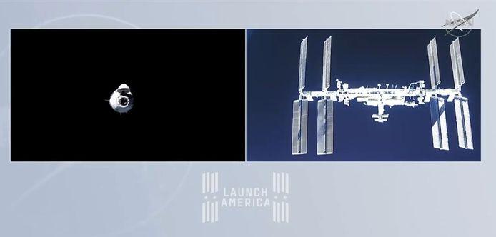 Beeld van de Crew Dragon Capsule die het ISS nadert.