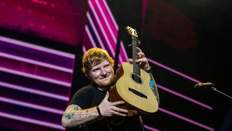 Ed Sheeran tijdens de eerste van twee shows in de Ziggo Dome. Beeld anp