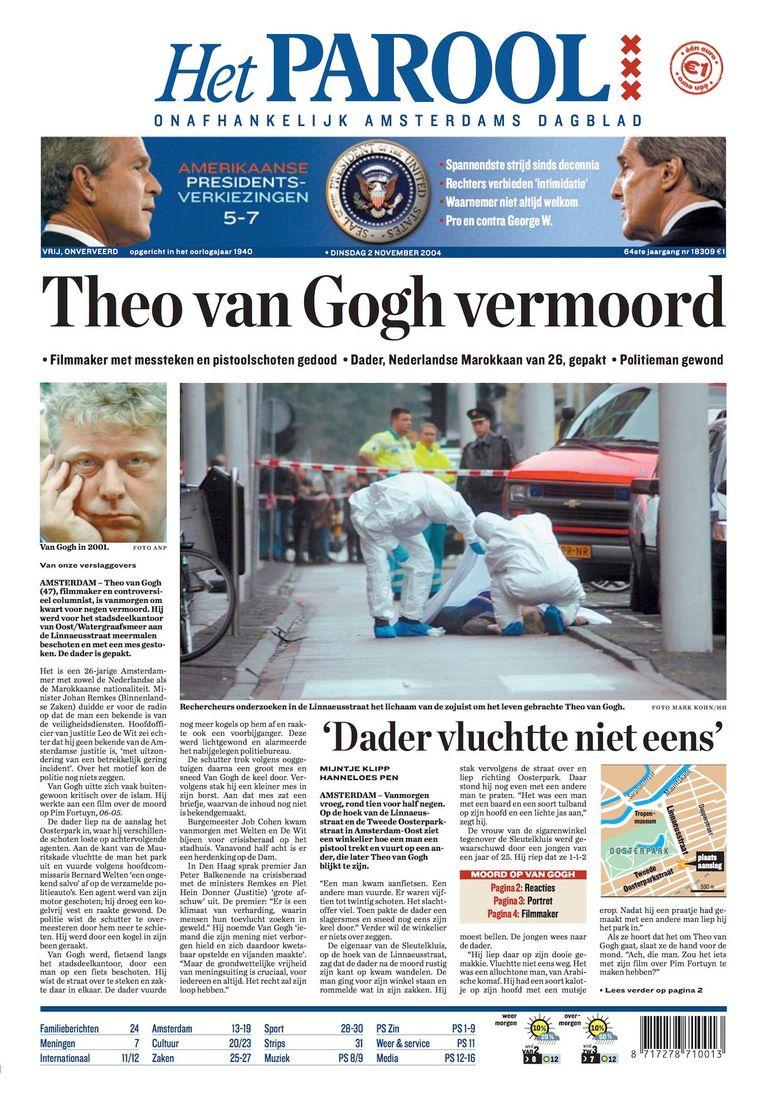 De voorpagina van Het Parool op dinsdag 2 november Beeld Het Parool
