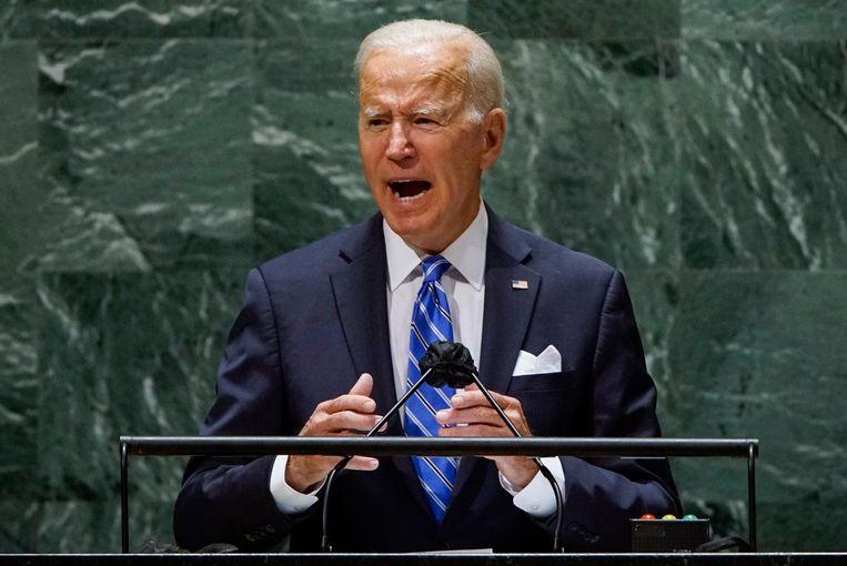 President Joe Biden spreekt de Algemene Vergadering van de Verenigde Naties toe. Beeld EPA