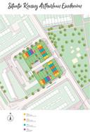 Situatieschets van het nieuwe wijkje van 20 koopwoningen aan de Koning Arthurlaan in Eindhoven. Op de locatie van het voormalige politiebureau dat binnenkort gesloopt wordt.