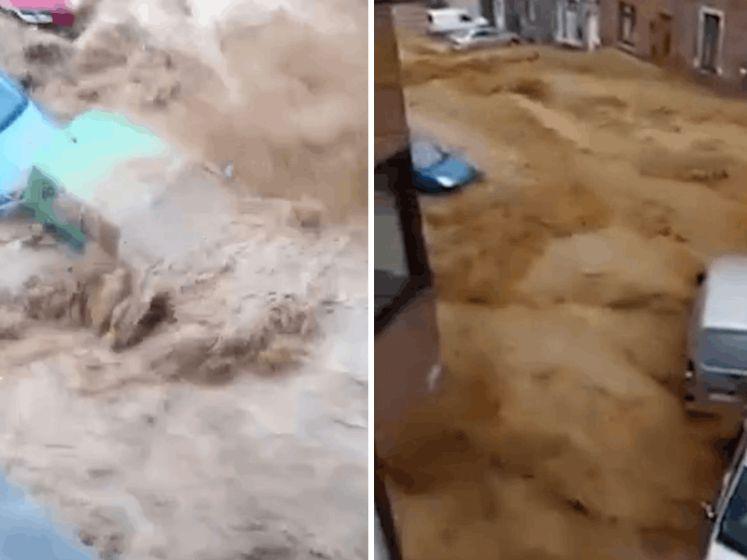 Opnieuw kolkende rivieren door Belgische straten na zware regenval