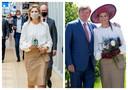 Links koningin Máxima in het UMC deze week en rechts in de Betuwe in 2019.