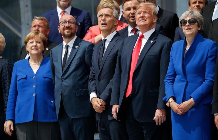 Tijdens de tweedaagse top van NAVO-leiders in juli 2018 bekritiseerde Trump de lidstaten omdat ze te weinig aan hun krijgsmacht uitgeven.  Beeld AP