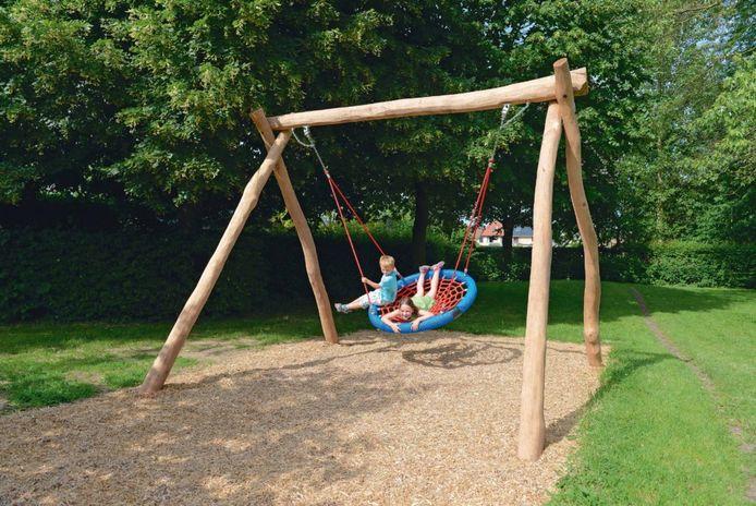 Een voorbeeld van een nestschommel zoals er eentje zal komen op het speelplein.