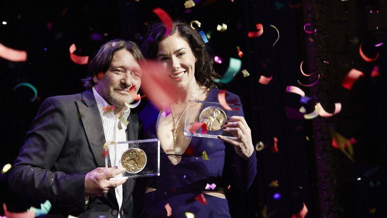 Acteur Pierre Bokma wint de Louis d'Or voor zijn rol als Vijs in 'De Verleiders: de casanova's van de vastgoedfraude'. Beeld anp
