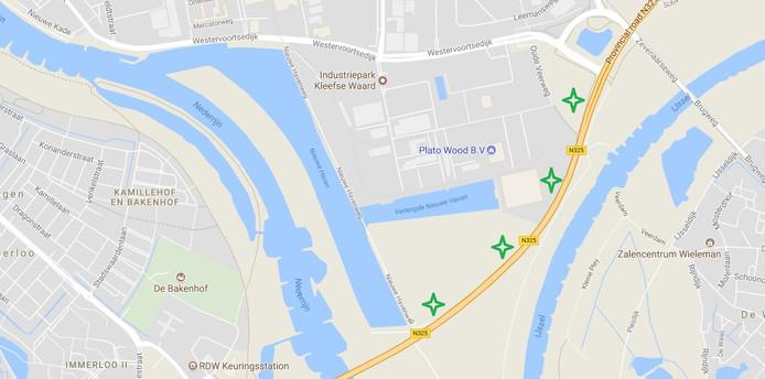 De plek waar de vier windmolens in Arnhem moeten komen.