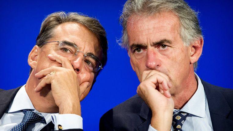 Topman Alexandre de Juniac van Air France-KLM en topman Frederic Gagey (R) van Air France tijdens de presentatie van de halfjaarcijfers Air France-KLM. Beeld ANP